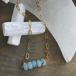 PAPERCLIP CHAIN GOLD AQUAMARINE PENDANT NECKLACE